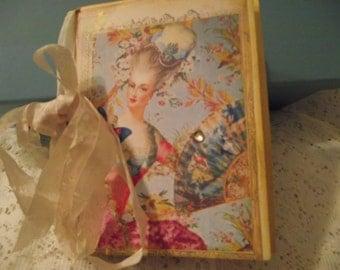 Shabby Chic Style Journal  Of Marie Anoinette Glitter stones Seam Binding Bow Distress Edges