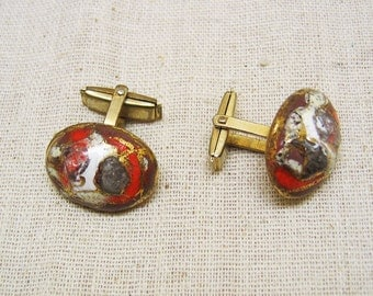 Art Deco  Glass Cuff Links, Vintage 1930s