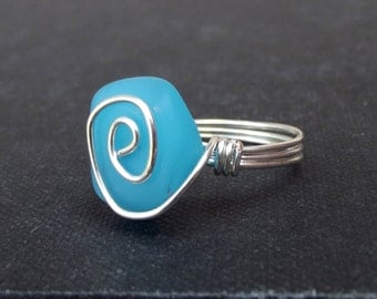Opaque Ocean Blue Ring, Sky Blue Opal Sea Glass Ring, Fine Silver Swirl Spiral Wire Wrapped Beach Jewelry, Size 7
