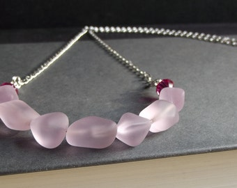 Pink Frosted Glass Necklace:  Man Made Sea Glass, Blossom Rose Pink Fuchsia Crystal Curved Bar Hammered Silver Chain Necklace, Beach Jewelry