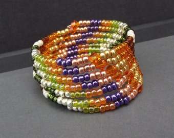 Autumn Jewelry:  Fall Patchwork Beaded Bracelet, Extra Wide Stacked Cuff, Pumpkin Orange, Forest Lime Green, Purple and Gold Harvest  Wrap
