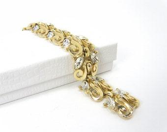 Signed Vintage Trifari Clear Marquise-Cut Rhinestone Goldtone Bracelet with Scroll Design