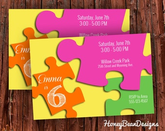 PRINTABLE Puzzle Birthday Party Invitation Puzzles Puzzle Piece Option You Choose Colors