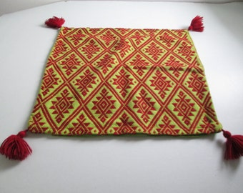 Woven Wool Pillow Cover. Vintage 1960.  Hollywood Regency, Mid century modern, Danish Modern, Eames Panton era.