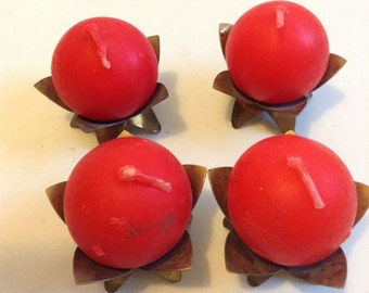 4 vintage Brass candle holders from West Germany. Come with four tiny red ball candles. Danish Modern. Eames era. Mid century. Mod Panton.