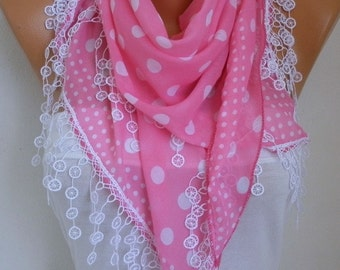 Pink & White Polka Dot Cotton Scarf, Spring Summer Scarf, Easter Gift, Cowl Gift Ideas For Her  Women's Fashion Accessories Teacher Gift