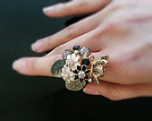 Cubic Detailed Butterfly and Flower Ring