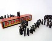 Vintage Wooden Dominos in Box