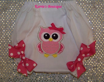 OWL Diaper Cover / Pink / Double Seat / Bloomers / Birthday / Newborn / Infant / Baby / Girl / Toddler / Custom Boutique Clothing