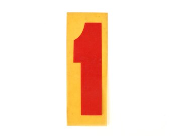"Vintage Industrial Marquee Sign Number ""1"", Red on Yellow Flexible Plastic (7 inches tall) - Industrial Decor, Art Assemblage Supply"