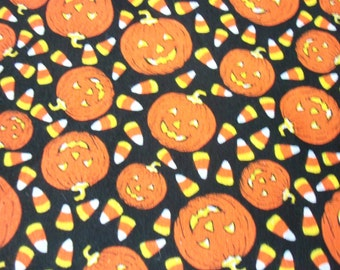 Halloween pumpkins & candy corn fabric BTFQ