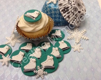 Edible Teal Circle Ice Skates Made of Vanilla Fondant Cupcake toppers/Cookie or Cake Decorations Ready for your Home Made Creations