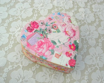 "Floral Paper Heart Box for jewelry, keepsakes, gifts, Valentine gift, 6"", optional engagement/anniversary ring box"
