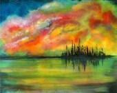 Seascape Painting Fine art print, abstract landscape, 8x10 art, modern wall art
