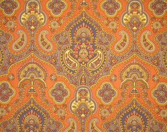Retro Wallpaper by the Yard 70s Vintage Wallpaper - 1970s Orange Brown and Yellow Paisley Damask