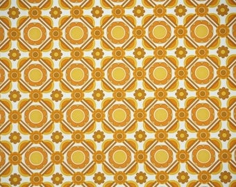 Vintage Wallpaper by the Yard 70s Retro Wallpaper - 1970s Orange Yellow and White Geometric