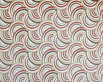 Retro Wallpaper by the Yard 70s Vintage Wallpaper - 1970s Brown Tan Burgundy and White Swirly Circle Geometric