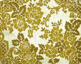Retro Flock Wallpaper by the Yard 70s Vintage Flock Wallpaper - 1970s Dark Yellow-Gold Flock Floral on Metallic Gold