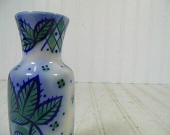 Vintage Beriozka Hand Painted Flow Blue Style Ceramic Vase - Retro Mid Century Cold War Era Petite Pottery Piece - Made In USSR Maker's Mark