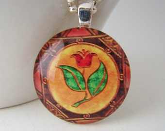 Tulip Medallion Glass Tile Pendant with Free Necklace