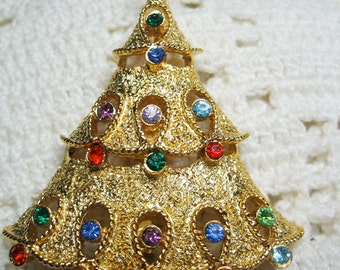 Vintage Signed JJ Rhinestone Christmas Tree Brooch