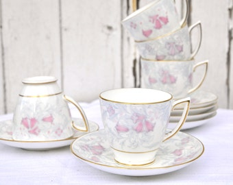 Pastel pink and grey gold pattern Tea cup and saucer set vintage bone china - Debutante