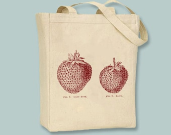 Vintage Strawberries illustration on Canvas Tote -- Selection of sizes available, Image in ANY COLOR