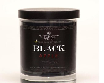 BLACK Apple scented soy jar candle, black candle