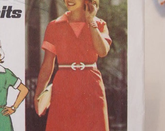 UNCUT Vintage 70's Simplicity Jiffy Knit Easy Cut Sew V Neckline Dress Sewing Pattern 6199 Sewing Pattern Size 10 Bust 32 1/2