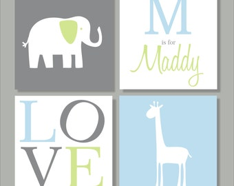 Elephant and Giraffe, Safari, Children's Wall Art, Nursery Wall Art, Children's Canvas- Set of four stretched canvas Customizable