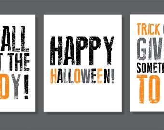 Halloween Art Prints, Candy, Trick or Treat, Halloween Wall decor- Set of three prints