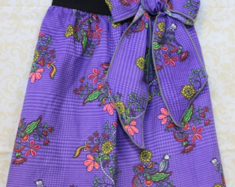 Girls Clothes Size 5/Girls Skirt/Corduroy Skirt/Purple Flower Skirt/READY TO SHIP