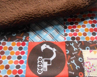 Baby Boy Wash Cloths with Trucks and Tools - Set of 2 Minky Backed Wash Cloths - Ready to Ship