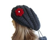 Slouchy Beanie,  Dark Grey  Womens Beret Hat,  tricot and crochet,  unique gift, new design, warm, soft, cute, Fashion 2014