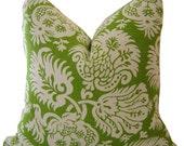 Jacobean Green Pillows - Green Pillow Cover - Linen Pillows - Green Decorative Pillow - Accent Pillow - Euro Sham - Square Pillow - Cushions