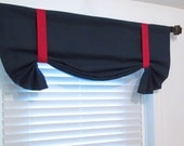Solid Navy Blue Red Tie Up Curtain VALANCE HANDMADE in the USA