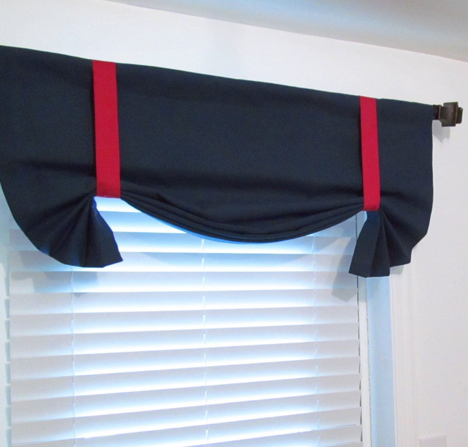 Nautical tie up valance solid navy red lined curtain Navy blue curtains