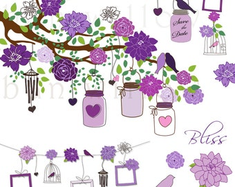 BLISS - Singing Plum, 25 piece clip art image set in premium quality 300 dpi, Png & Vector files.
