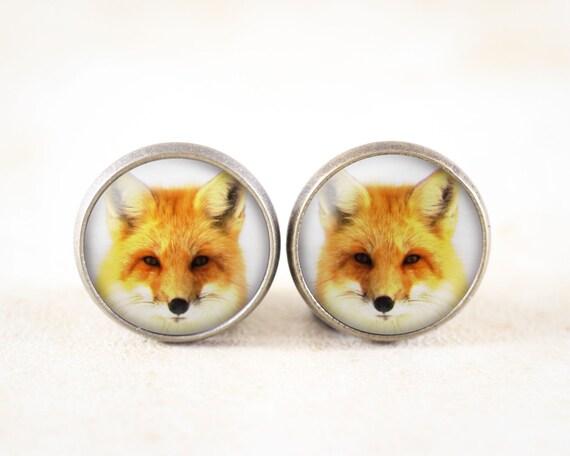 Fox Earrings - Bronze Post Earrings, Red Fox Photography