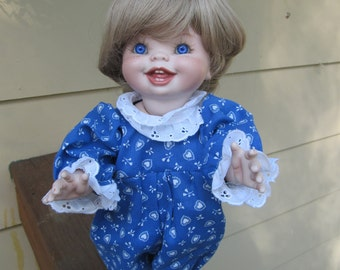 """Vintage, Artist Made, All Porcelain Bisque Doll, Chubby Toddler, 15"""" Tall"""