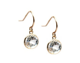 14k Solid Gold White Topaz Drop Earrings - Gemstone Dangle Earrings - Diamond Drop Earring Inspired