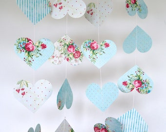 Shabby Chic Hearts Garland, Double-Sided, Bridal Shower, Baby Shower, Party Decorations, Birthday Decoration