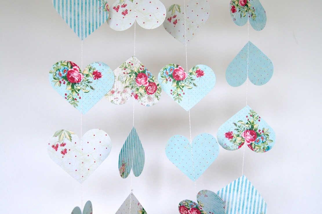 Shabby chic hearts garland double sided bridal shower baby for Shabby chic garland lights