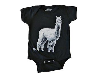 Funny Baby Onesie - Hand Screen Printed Alpaca Onesie