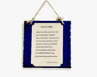 "Inspirational Art Sign Ceramic Wall Plaque ""Love & Time"" Text"