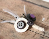 SIX Chic Wedding Boutonnieres Plum Black White Gray - made with buttons into a rustic arrangement - Set of 6