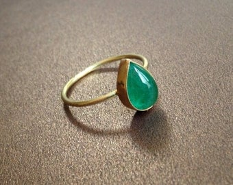 Emerald Pear Gold Ring