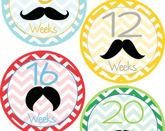 Pregnancy Bump Monthly/Weekly Milestone Stickers -Mustache Pattern-Gift For Expectant Moms Tracking Their Baby Bump