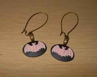 Bat Cameo Halloween Earrings/Bat cameo earrings/halloween earrings/bat earrings/pierced earrings