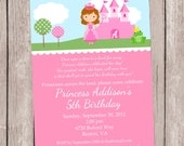 Princess Party Invitation, personalized and printable, 5x7